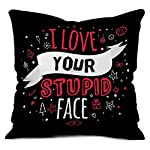 Pattern:indibni Black I Love Your Stupid Face PrintUtility: Gift for Boyfriend, Gift for Girlfriend, Special Gift for Wife, Gift for Husband, Unique Gift for Couple, House Warming, Home Décor, Throw Pillow for Spouse, Ideal Gift for Loved One, Sofa C...