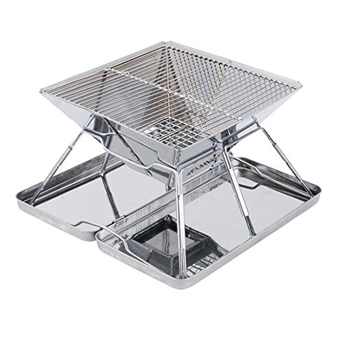 Portable Barbecue Grill Edelstahlkohle Raucher Broil BBQ Pit Grill Für Ourdoor Camping Picknicks, Silber, 31 * 31 * 22 Cm