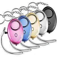5 pièces Safesound alarme personnelle porte-clé alarme de sécurité 140db avec LED et SOS alarme d'urgence fournissant une sécurité puissante pour les hommes femmes enfants étudiants (avec piles et multicolore)