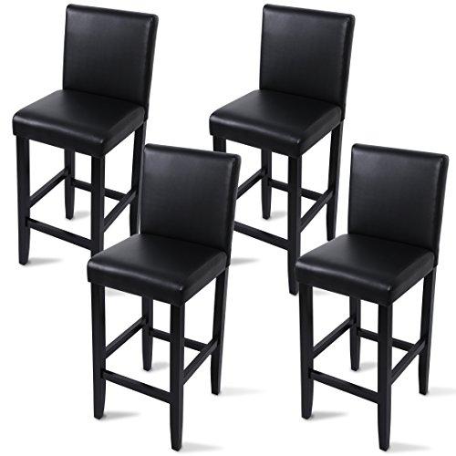 WOLTU BH21sz-4 Barhocker Bistrostuhl Holz Kunstleder Bistrohocker mit Lehne, 4er Set, Massivholz, Antirutschgummi, Kunstleder, dick gepolsterte Sitzfläche, schwarz -