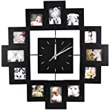 Accessotech 12 Picture Multi Photo Frame Display Wall Clock Time Family Album Black Modern