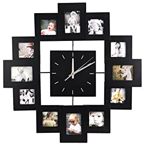 accessotech horloge murale moderne avec 12 cadres photo cuisine maison. Black Bedroom Furniture Sets. Home Design Ideas