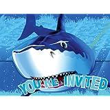 Kinderparty Deko Einladung Hai Fisch, 8 Stk.