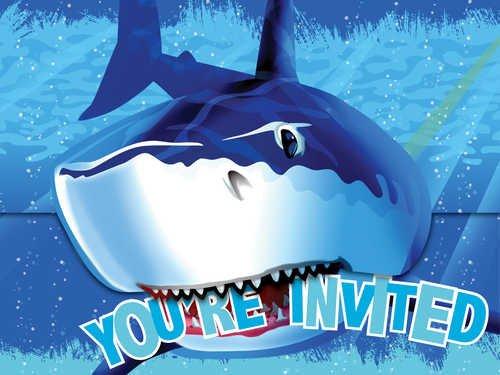 Unbekannt Creative Converting Party- / Geburtstagseinladungen mit Haifisch_Motiv, 8 Stück