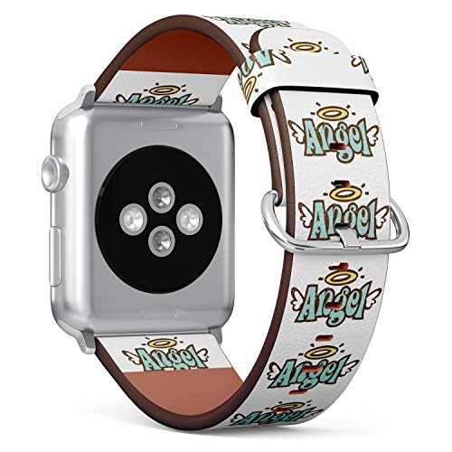 tch Armband, Echtes Leder Uhrenarmband f¨¹r Apple Watch Series 4/3/2/1 Sport Edition 42/44mm - Angel Halo and Wings ()