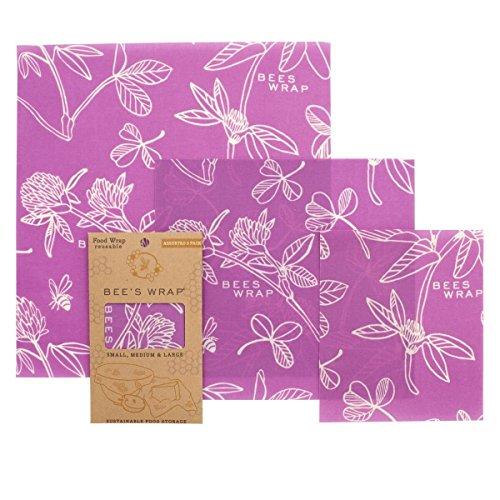 Bee's Wrap Wachspapier, Set mit 3Stück, verschiedene Größen, Violett (Bienen, Brot)