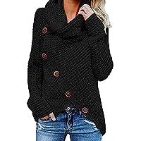 Yvelands Botón de la Camisa de Las Mujeres suéter de Manga Larga Jersey Tops Blusa