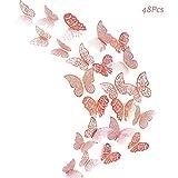 Creatiees 48 pz farfalle 3D adesivi per pareti decorazione casa stickers murali (Oro Rosa)