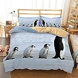 Stillshine Ropa de Cama 200 x 200 cm - Cama 135 cm Pingüino Juego de Funda nórdica 3D Animal Pingüino Antártico Hielo y Nieve Juego de Cama Fundas de ...