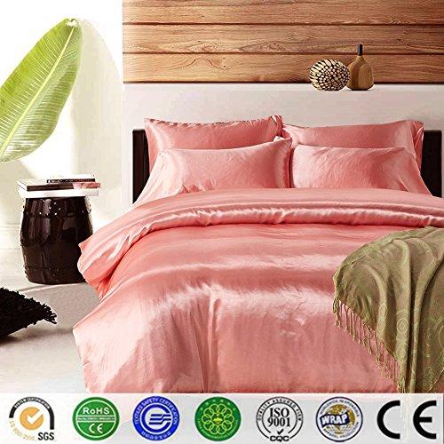 Bettbezug Set, Dotbuy Pure Color Generic Satin Luxus Seide Bettdecke Bettbezug Set Bettwäsche Sets...
