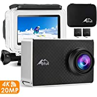 "BFULL 2.45"" Touchscreen 4K Action Cam, 20MP WiFi Action Ultra HD Sport Camera Unterwasser wasserdicht Camcorder 170° CMOS Sensor 2 bessere Batterien 1050Mah, Tragetasche und Befestigungszubehör"