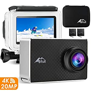 BFULL 2.45″ Touchscreen 4K Action Cam, 20MP WiFi Action Ultra HD Sport Camera Unterwasser wasserdicht Camcorder 170° CMOS Sensor 2 bessere Batterien 1050Mah, Tragetasche und Befestigungszubehör