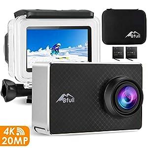 BFULL 2.45″ Touchscreen 4K Action Cam, 20MP WiFi Action Ultra HD Sport Camera Unterwasser wasserdicht Camcorder 170° CMOS Sensor 2 bessere Batterien 1050Mah, Tragetasche und Befestigungszubehör
