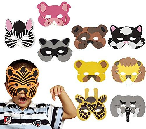 Cdet Foto Requisiten Schaumstoff Tier Masken Set für Kinder ideal zum Kindergeburtstag und Karneval (Für Tier Kinder Masken)