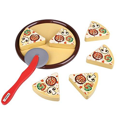 Peradix Juego de pizza de hojalata para Cortar Juego Magnético de Comida Rápida con Cortador Rebanadas Para Niños Pequeños