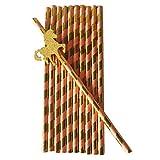 Sharplace 25 Stück Streifen Trinkhalme mit Glitzer Einhorn Aufkleber Papierstrohhalme für Hochzeit Geburtstag Baby Taufe Party Tischdeko - Rosa