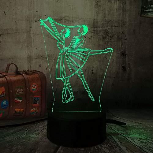 wangZJ 3d Lámpara de ilusión visual / 7 luces de noche cambiantes de color/decoración del hogar/dormitorio acrílico led art/regalo para niños/de deux bailarina