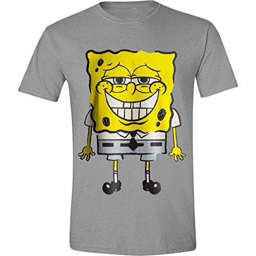 Spongebob Squarepants - Smile Homme T-Shirt - Gris - Taille Medium