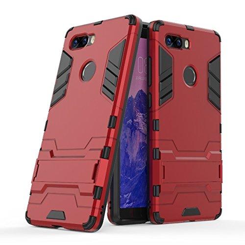 Happy-L Hülle für ZTE Nubia Z17S, Dual Layer Armor Defender Shockproof Hard Case mit Ständer (Farbe : Rot)