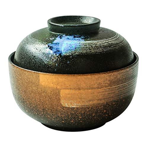 MPFDⓇ Kreativität Keramik 6,5 Zoll Mit Deckel Große Suppenschüssel - Chinesischen Stil Reisschüssel Haushaltsnudeln Schalen Retro Geschirr (Chinesische Dessertteller)