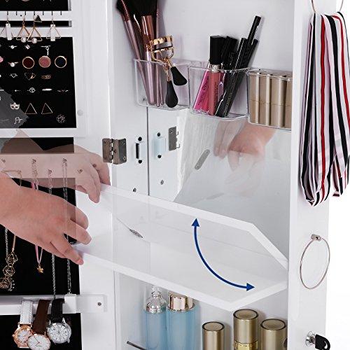 Songmics Schmuckschrank extra breiter Spiegel (Rahmenlose Spiegeltür) Türmontage/Wandmontage mit Schminktisch Innenspiegel abschließbar weiß JBC63W - 3