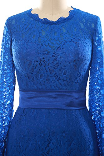 MACloth Women Long Sleeve Lace Short Cocktail Dress Wedding Party Evening Gown Dark Navy