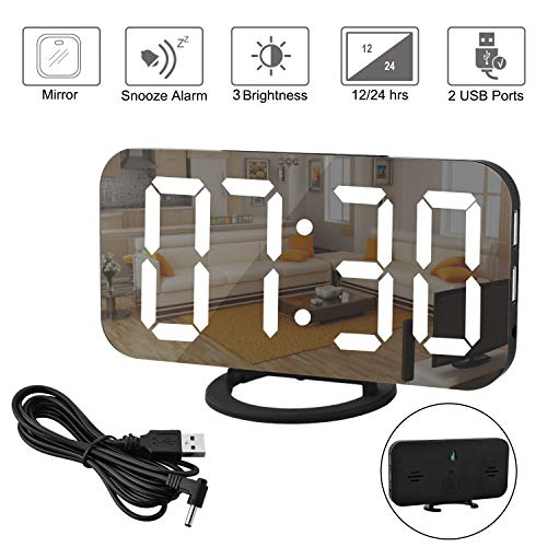 Espejo Reloj Despertador, Reloj Despertador Digital, Pantalla LED Grande de con Modo de atenuación...