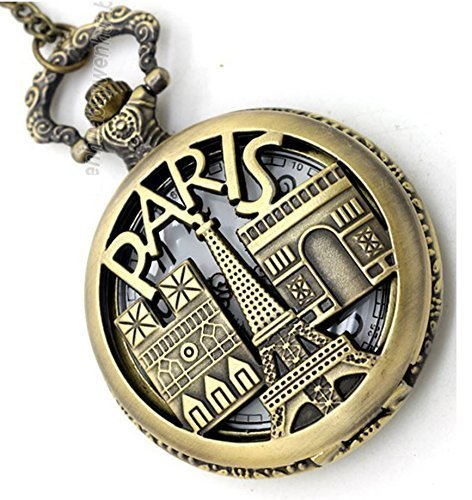 Lmp3Creation Bronze Classic Vintage Retro Antique Skeleton Hollow Paris Chain Pocket Watch For Unisex (Pow-0053)