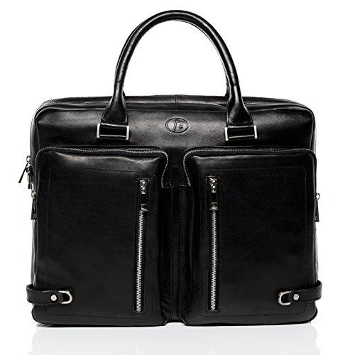 FERGÉ® XL Laptoptasche BETH - Unisex Umhängetasche XL groß Ledertasche fit für 15.4