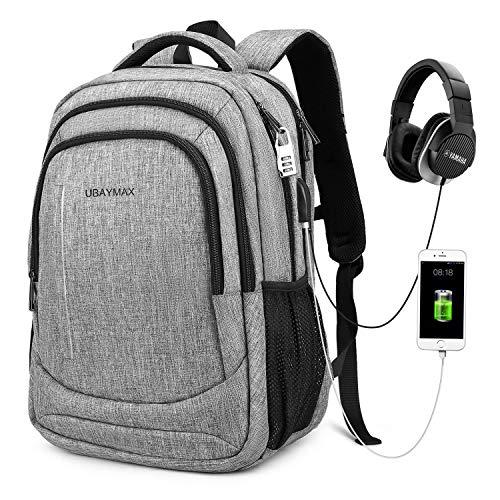 UBaymax Zaino Antifurto per Portatile 15.6',Zaino PC con USB,Zaino Casual Imermeabile per Lavoro/Tablet/Notebook,Zaino con Tasca di Ufficio/Affari,Laptop Backpack,Borsa da Scuola/Viaggio(02 Grigio)