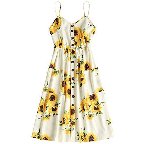 Zaful Damenkleid Knopf Print Sonnenblumen - 18,99 €