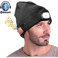 DIOSN Wireless Bluetooth Beanie Hat with LED Headlight USB Rechargeable - Hands Free Headlamp Musical Cap for Running Skiing Hiking Camping Cycling