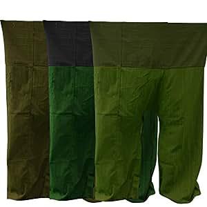 Thai Fisherman Pants Yoga Trousers FREE SIZE Plus Size Cotton [Green, Olive, Olive-Green, Black].