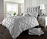 Luxury Duvet Cover King Size Kingsize With Pillowcases Quilt Bedding Set Reversible Poly Cotton , Alford Silver