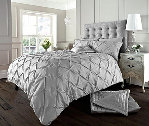 Luxury Duvet Cover Double With Pillowcases Quilt Bedding Set Reversible Poly Cotton , Alford Silver