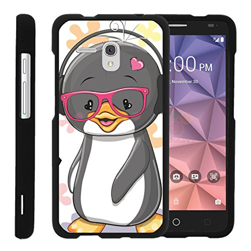 turtlearmor | Alcatel One Touch Fierce XL Schutzhülle | Alcatel Flint Fall [Slim Duo] Hard Shell Snap on Case Compact Cover Matt Sea Ocean Design auf Schwarz -, Cute Penguin - Camo One Alcatel Touch