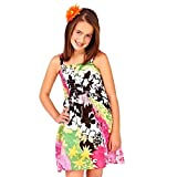 GIRLS KIDS COTTON STRETCH ELASTICATED LINED STRAPPY SUNDRESS SUMMER DRESS BLACK FLOWERS 3/4