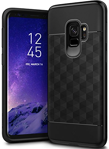 Caseology Parallax Series Case Designed for Galaxy S9 with Slim Fit Geometric Cover and Enhanced Drop Protection for Samsung Galaxy S9 (2018) - Black/Black