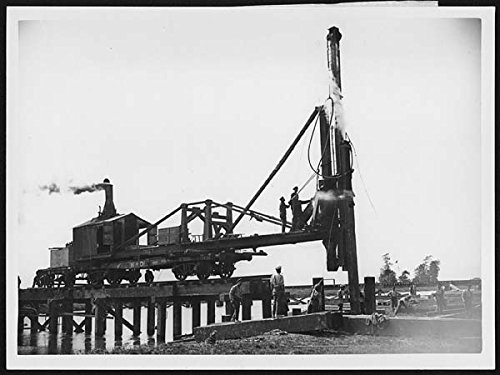 POSTER Pile-driver being used in bridge construction, France, during World War I This photograph is one of a series showing different stages Scotland Wall Art Print A3 replica