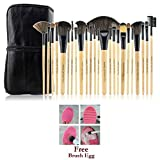 #9: Bundle Offer : 24 Pcs Makeup Brush Set With Case + 1 Pc Brush Egg - The Novelty Makeup Brush Cleaner. Functions of each brush engraved on the brush itself.