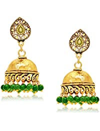 Spargz Party Wear Gold Plating Green Beads Jhumki Earrings For Women AIER 652