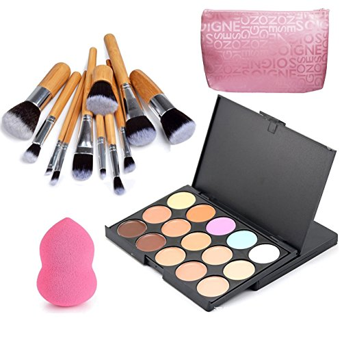 VONISA 15 Farben Concealer Palette Kontur Kit Gesicht Konturieren Highlighter Palette Beauty Kosmetik Creme Make Up Abdeckcreme Set 11 Stück Bambus Bürsten Pinsel Set und Make-up Puderquaste Schwämme Highlight Und Kontur-make-up-set