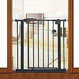 Indoor Safety Gates Extra Breite Baby Tor Schwarz Metall Druck montiert Pet Tür Wandschutz 65-194 cm Breite, Höhe 77 cm (Größe : 105-114cm)