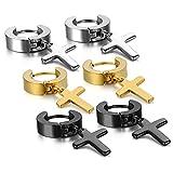 Damen Herren Kreuz Ohrstecker Set, OIDEA Creolen Ohr Kreuz Anhänger Ohrpiercing Ohrringe schwarz gold silber (Kreuz Anhänger Design 3)