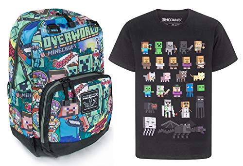 Minecraft Steve Overworld Backpack and Sprites T-Shirt Gift Set Bundle