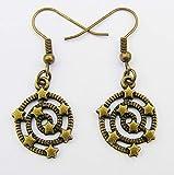 Star en espiral pendientes de gota, color bronce encanto y ganchos estilo Steampunk