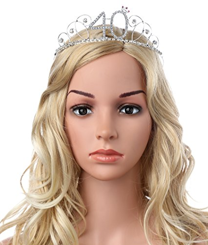 BABEYOND Kristall Geburtstag Tiara Birthday Crown Prinzessin Kronen Haar-Zusätze Silber Diamante Glücklicher 18/20/21/30/40/50/60 Geburtstag (40 Jahre alt) - 3