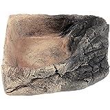 Acuami bol d'angle pour terrarium – gamelle, bol d'eau, bol à nourriture pour les reptiles, les geckos, les tortues, les serpents - accessoires terraristiques (L Roche 14,5x14,5x4cm)