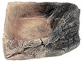 Acuami ciotola angolare per terrari - ciotola per cibo, acqua o per fare il bagno – Accessori terraristici per rettili, gechi, tartarughe, serpenti - L (14,5x14,5x4cm), pietra
