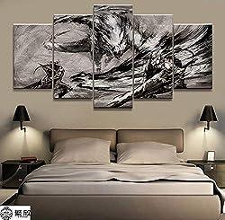 AMOHart Leinwanddrucke Wandkunst Malerei Wohnzimmer Dekorative 5 Stücke Spiel Monster Hunter Loong Poster Drucke auf Leinwand Rahmen